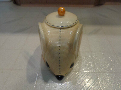 Vintage Doranne of California Mouse Cookie Jar Calico Stitching LIGHT YELLOW