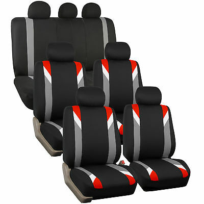 3 Row Car Seat Cover Set For SUV Minivan Red with 7 headrests