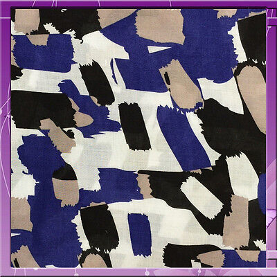 """100% Rayon Challis Paste Grey, Licorice Blue Print 58"""" Wide Fabric Sold Bty"""