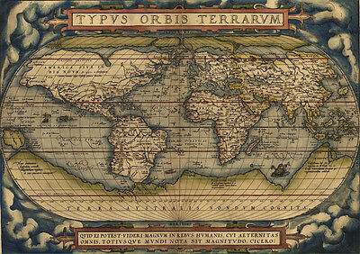 Stickers Autocollant Transparent Poster A4 Old Map World Carte Monde Ancienne