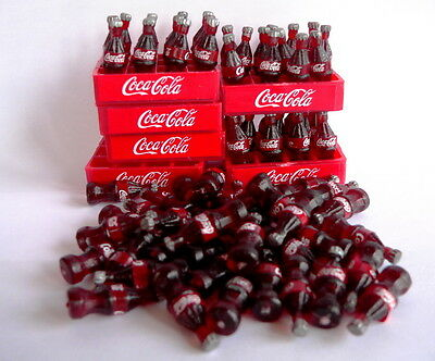 Lote 6 sets Coca cola coke bottle and tray sets plastic dollhouse miniature