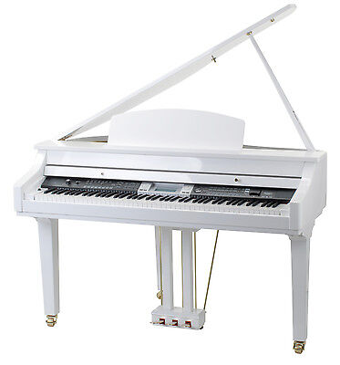 88  Keys Digital Electric Grand Piano Keyboard 559 Sounds Usb White Highgloss