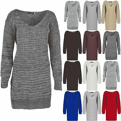Womens Ladies V Plunge Neck Oversize Baggy Chunk Knit Sweater Jumper Dress Top