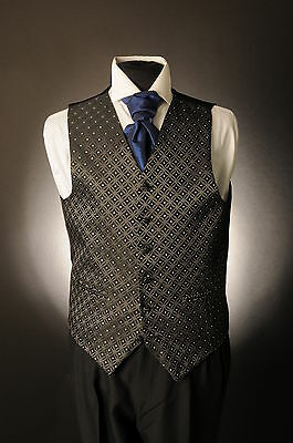 W-589 Mens Black Diamante Wedding Waistcoat Formal/dress/wedding/suit