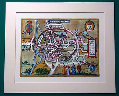 Canterbury Kent Old Town Map Canvas Mounted Reproduction By Georg Braun C1588