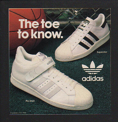 1984 ADIDAS Pro Shell & Superstar Sneakers Athletic Shoes VINTAGE ADVERTISEMENT