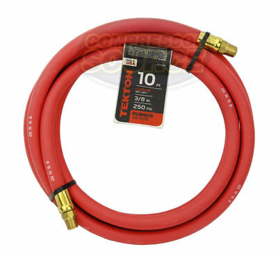 "Tekton 3/8"" x 10' ft Rubber Air Hose Whip Lead 250 PSI Brass Ends USA Made 46334"