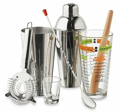 Cocktail Mixer Bar Set with Stainless Steel Martini Drink Shaker Bartender Kit