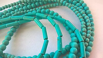 Turquoise  beads.round 4-6mm in diam,column,abacus.