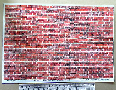1/12th dolls house red brick self adhesive vinyl - A4 sheet (297x210 mm)