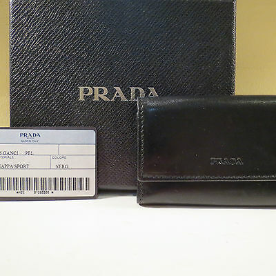 dca53bdfb000c6 Nwt Authentic Prada Black Nappa Leather Key Ring Holder Key Chain Wallet
