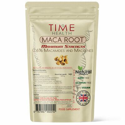 Maca Root Capsules Extract 6000mg High Strength Sexual Health Energy Vegan UK