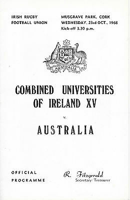 1968 - Combined Universities of Ireland v Australia, Touring Match Programme.