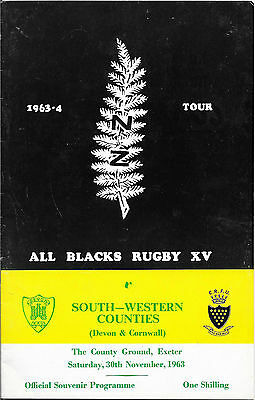 1963 - South-Western Counties v New Zealand, Touring Match Programme.