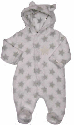 Babies Unisex Fleece Snowsuit White With Grey Stars Popper Fastening NB 0-3 3-6M
