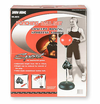 Children Kids Boxing Set Free Standing Punch Ball Gloves Adjustable Height NEW