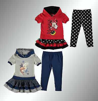 New Infant Girls Branded Character Printed Hoody Set Leggings Top Size Age 2-13