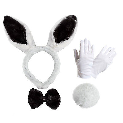 Adult Easter Spring Bunny Rabbit Dress Up Kit - Ears Bow Tie Tail & White Gloves