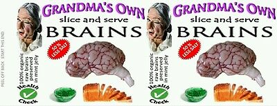 BRAINS, 540 ml 19 oz CANNED FOOD LABELS, NOVELTY, PRANK, ODDITIES. GROSS
