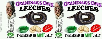 LEECHES, 540 ml 19 oz CANNED FOOD LABELS, NOVELTY, PRANK, ODDITIES. GROSS