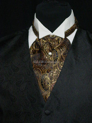 Cravat ascot wedding old west tie black and brown made in USA