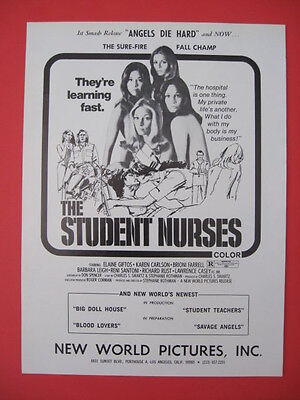 1970 Rare THE STUDENT NURSES Rated R New World Pictures Movie Film Print Ad