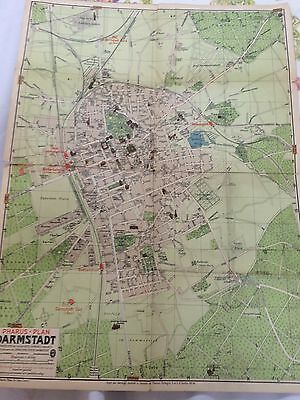 Historic Vintage Map Darmstadt Germany History Early 20th Century