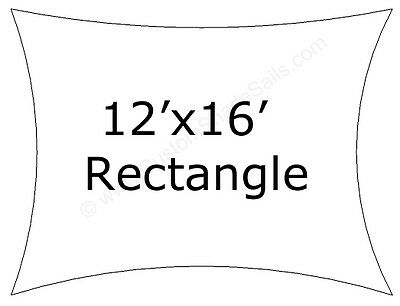 12x16 Rectangle Shade Sail Made in USA  Multiple Colors Available NO SEAMS
