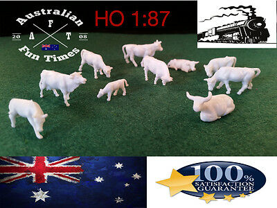 10 Ho Scale Model Realistic Cows Farm Animals People Figures Locomotive 1:87 New