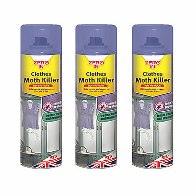 3 x Zero In Clothes Moth Killer Kill Moth larvae Protect Storages Area 300ml New