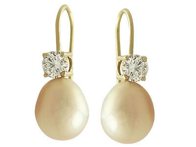 Pink Pearl and 0.60ct Diamond, 18ct Yellow Gold Drop Earrings - Contemporary