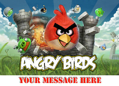 Angry Birds Personalised Edible Icing Custom Party Cake Decoration Topper Image