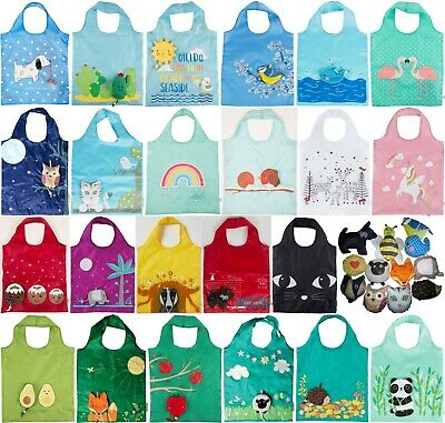 Sass & Belle Reusable Shopping Bag Foldaway Eco Animals attached pouch foldable