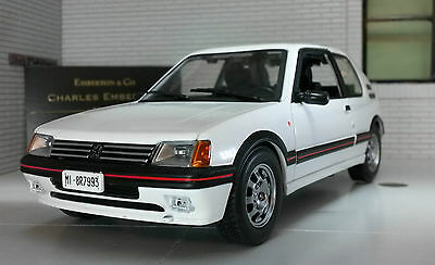 G LGB 1:24 Scale White Peugeot 205 GTi 1.9 Very Detailed LEO Diecast Model Car