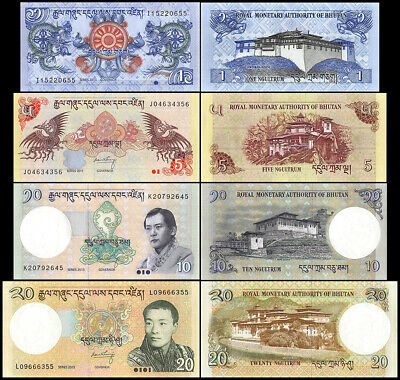 Bhutan 1, 5, 10, 20 Ngultrum X 4 Pieces (PCS) Short Set, 2011-2015, P27-30, UNC
