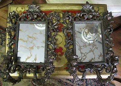 "Pair of Antique Bronze Wall Sconces Candle Holders w/ Mirror 11"" x 9"""