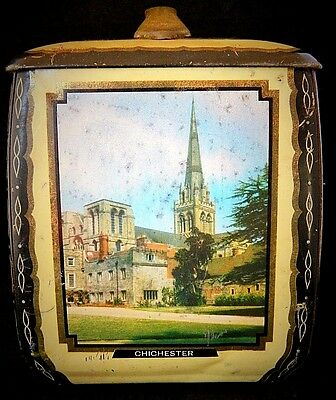 Vintage Edward Sharp & Sons Ltd. English Lidded Biscuit Tin Cathedral Transfers