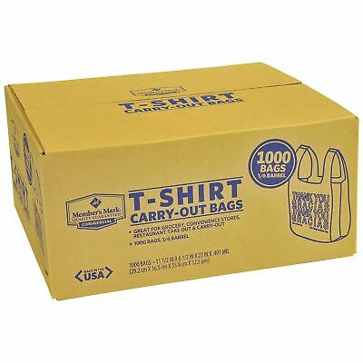 T-Shirt Carry Out Thank You Plastic Shopping Grocery Bags 1000ct 100% Recyclable