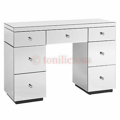 7 Drawers Greenish White Mirrored Makeup Dressing Table - Mirror furniture