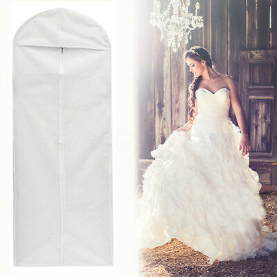 "Breathable Bridal Wedding Dress Gown Bag Cover Storage Protector 59"" Zip UK"