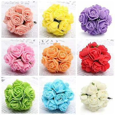 12Pc 1 Bouquet 20mm Foam Rose ArtificIal Flowers With Wire Stems Home Party Gift