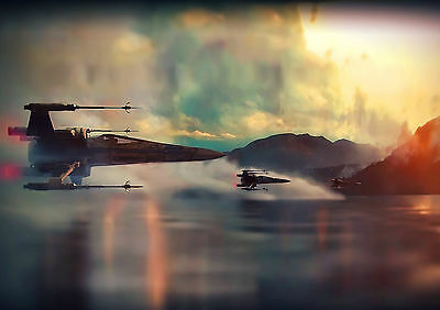 Stickers Autocollant Transp Poster A4 Film Movie Star Wars Vaisseaux Space Ship.