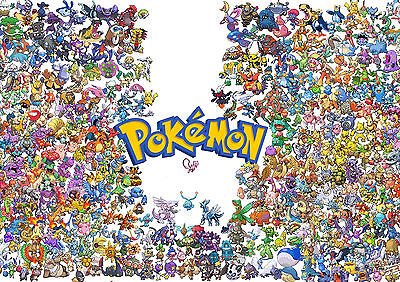 Stickers Autocollant Transp Poster A4 Nintendo Pokemon Pikachu All Characters.