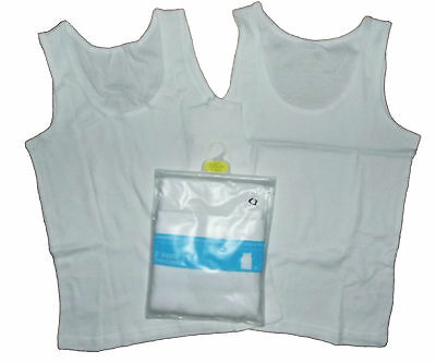 Boys Two Pack Ex Store Vests Ribbed Sleeveless 100% Cotton 7-8 Years LAST FEW