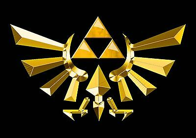 Stickers Autocollant Tr.poster A4 Video Game Nintendo Legend Of Zelda Triforce 2