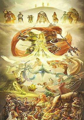 Stickers Autocollant Tr.poster A4 Video Game Nintendo Legend Zelda All Character