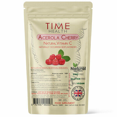 Acerola Cherry Capsules Extract Natural Vitamin C Antioxidant Wholefood Vegan UK