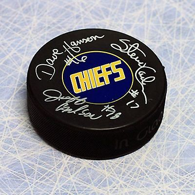 The Hanson Brothers Triple Signed Slap Shot Movie Charleston Chiefs Hockey Puck