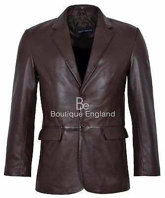 Mens Leather BLAZER Brown Classic ITALIAN Tailored Soft REAL LEATHER 9124