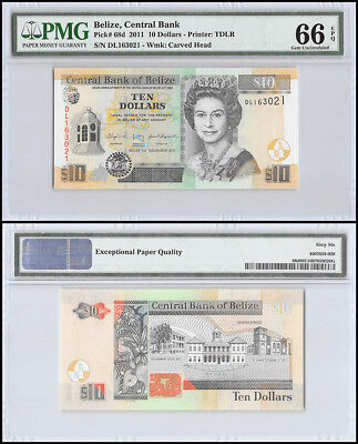 Belize 10 Dollars, 2011, P-68d, UNC, Carve Head, Queen Elizabeth II, PMG 66 EPQ